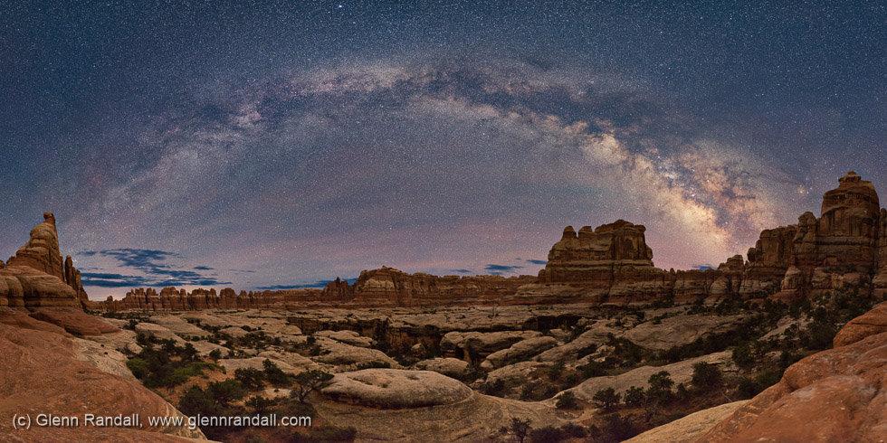 Milky Way Panorama over Elephant Canyon, Canyonlands National Park, Utah