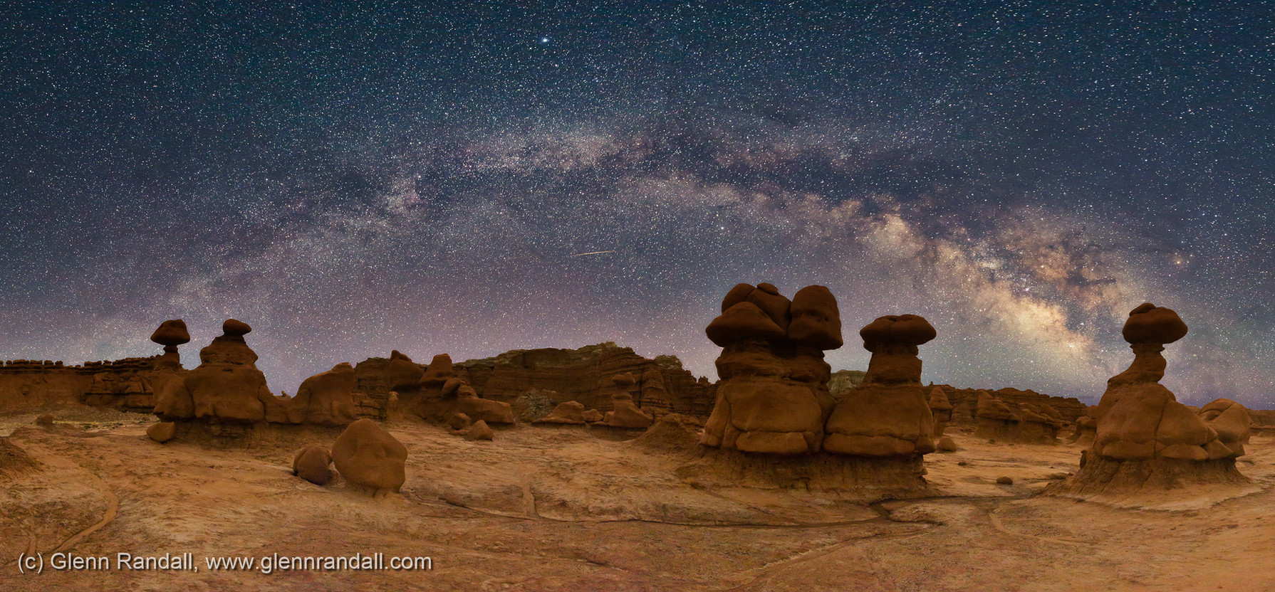 Milky Way Panorama over Goblin Valley