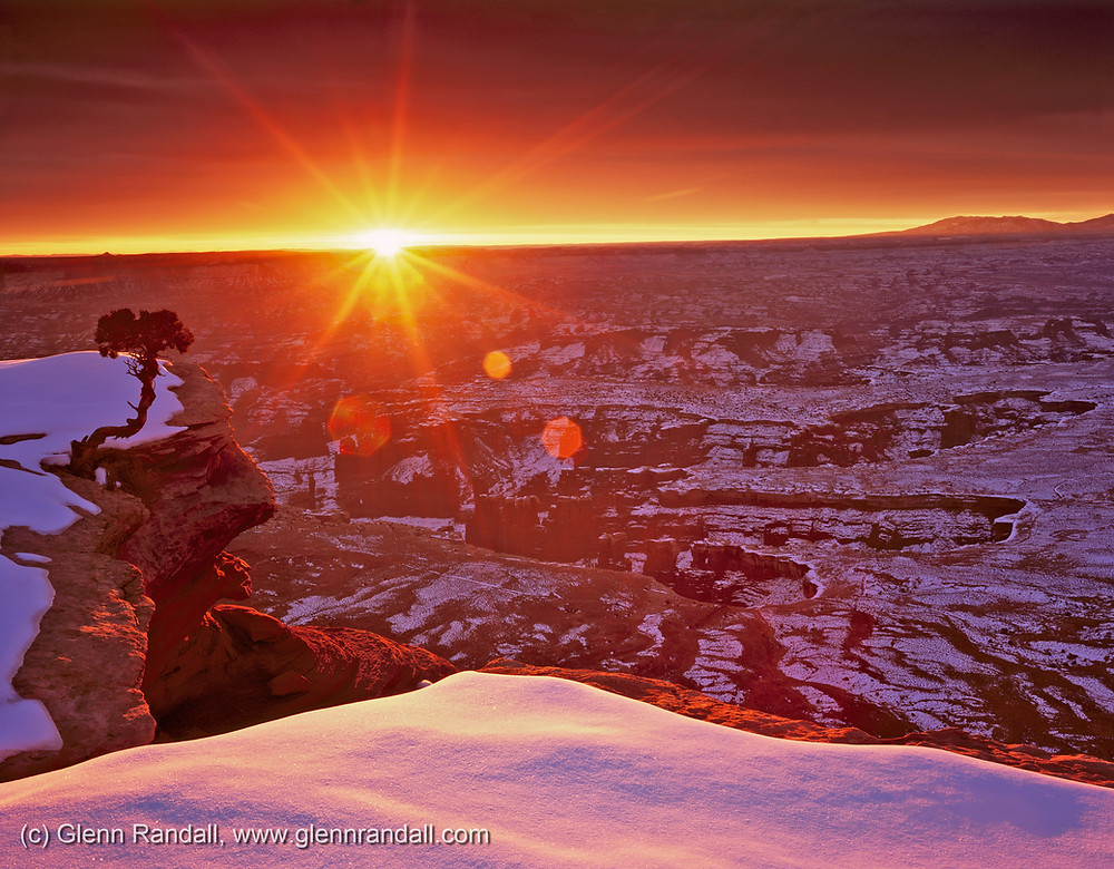 Monument Basin from Grand View Point at sunrise, Island in the Sky District, Canyonlands National Park, Utah