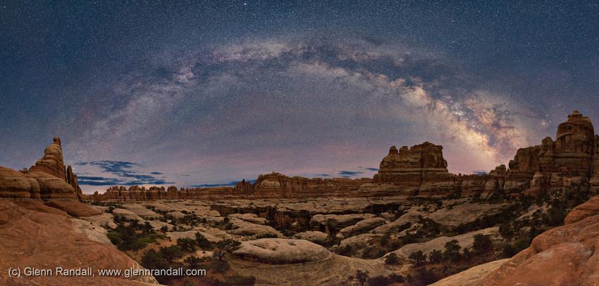 Milky Way Panorama over Elephant Canyon