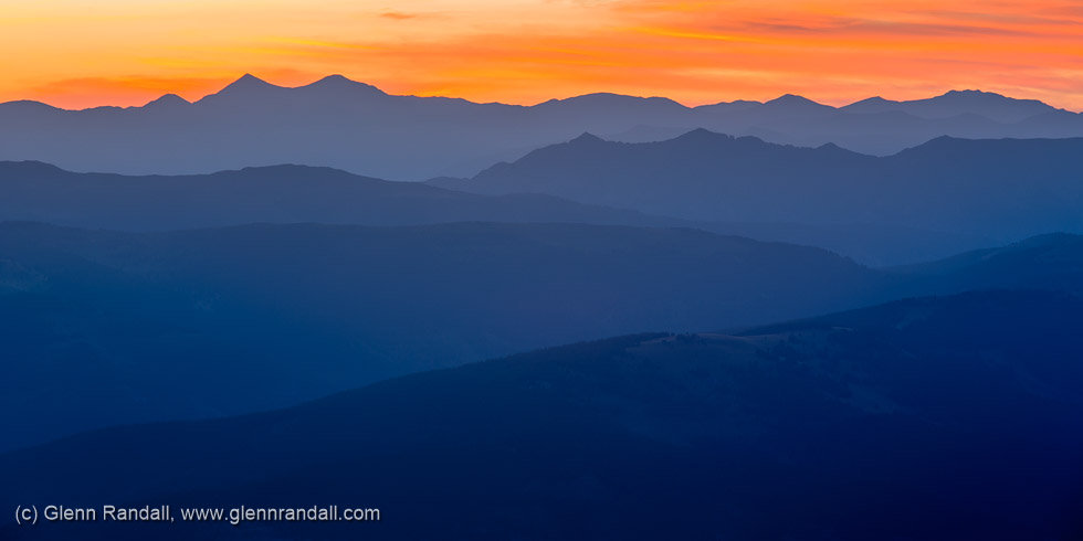 Sunrise from the summit of Mount of the Holy Cross, Holy Cross Wilderness, Colorado