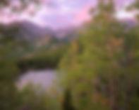 Longs Peak from Bear Lake in summer, Rocky Mountain National Park, Colorado