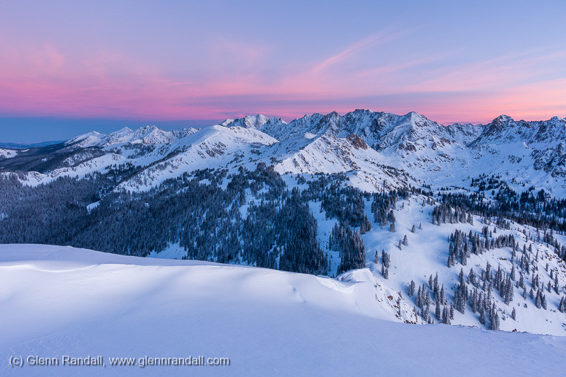 The Gore Range at sunrise from the summit of Bald Mountain, near Vail, Colorado