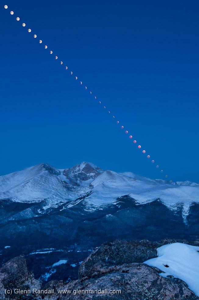 Lunar Eclipse over Longs Peak, Rocky Mountain National Park, Colorado