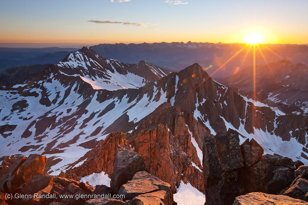 Sunrise from 14,252-foot Mt. Wilson, Lizard Head Wilderness, Colorado