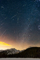 Geminid Meteor Shower from Bear Lake, Rocky Mountain National Park, Colorado