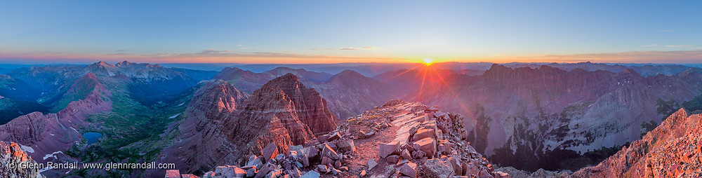 Sunrise from the summit of South Maroon Peak, Maroon Bells-Snowmass Wilderness, Colorado