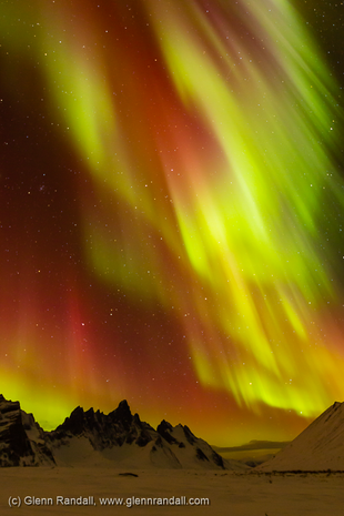 Auroral Storm over Tombstone Mountain