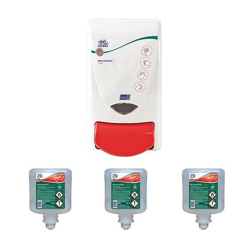 Deb Hand Sanitiser Dispenser + 3 Foam 1 Ltr Sanitisers