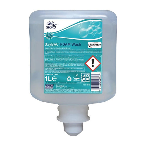 Deb OxyBAC Unperfumed Antibacterial Foam Hand Soap 1Ltr
