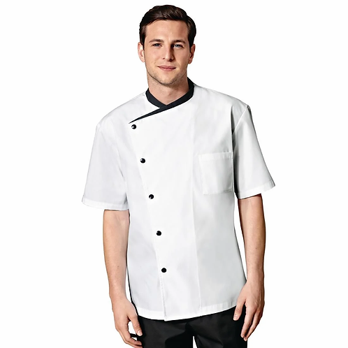 Bragard Juliuso Jacket White With Black Short Sleeve