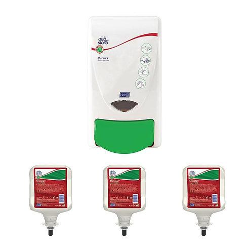 Deb Restore Hand Cream Dispenserand 3 Unperfumed Liquid Hand Creams 1Ltr