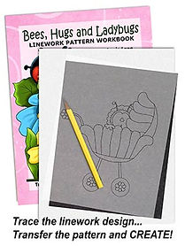 Bees, Hugs & Ladybugs Linework Pattern Sample Page
