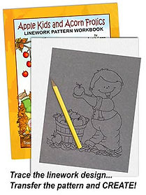 Apple Kids and Acorn Frolics Linework Pattern Sample Page