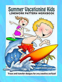 Summer Vacationing Kids Linework Pattern Book Sample Page