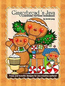 Gingerbread 'n Java  Linework Pattern Book Cover