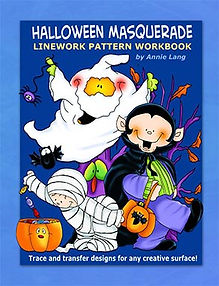 Halloween Masquerade Linework Pattern Book Sample Page