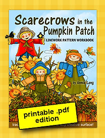 Scarecrows in the Pumpkin Patch Linework Pattern Book PDF