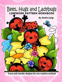 Bees, Hugs & LadyBugs Linework Pattern Book Sample Page