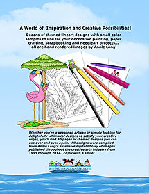 Creative possibilities can be found in Annie Lang's Flamingo Friends coloring patterns line art book!