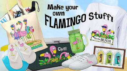Make your own Flamingo Friends stuff with patters from Annie Lang's coloring patterns book!
