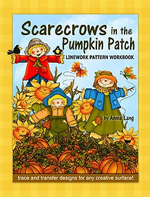 Scarecrows in the Pumpkin Patch Linework Pattern Book Sample Page