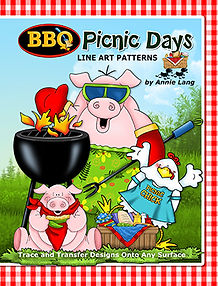 Annie Lang's BBQ Picnic Days Line Art Pattern Book themed character designs for creative art enthusiasts!