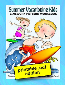 Summer Vacationing Kids Line Art Pattern Book PDF