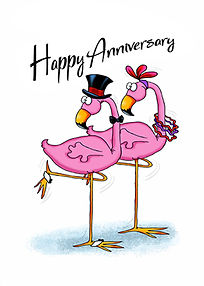 Anniversary Flamingos and more Milestone greeting cards by Annie Lang