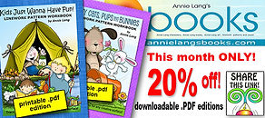 20% off the .pdf edition of  Annie Lang's The Kitty Cats, Pups and Bunnies Line Art Pattern book this month only!