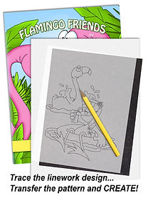 Just Trace, Transfer and Color Annie Lang's Flamingo Friends Characters!