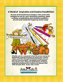 Scarecrows in the Pumpkin Patch Linework Pattern Book Back Cover