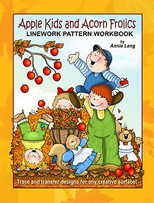 Apple Kids and Acorn Frolics Linework Pattern Book Sample Page