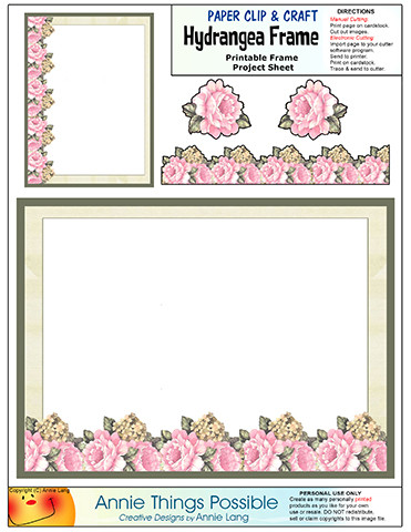 Hydrangea Frame Paper Clip Project Page | Annie Things Possible ...