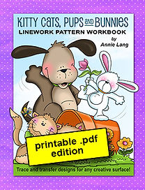 Kitty Cats, Pups and Bunnies Line Art Pattern Book PDF