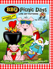 Annie Lang's BBQ Picnic Days Line Art Pattern Book Themed character designs .PDF edition
