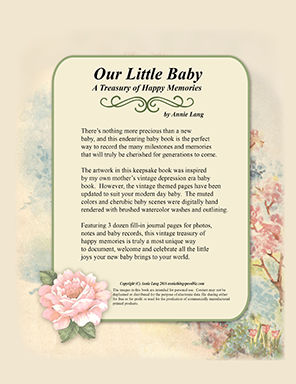 "Annie Lang's ""Our Little Baby"" A Treasury of Happy Memories Book available in Paperback and .PDF formats"