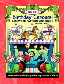 Big Top Birthday Carousel Linework Pattern Book Cover