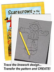 Scarecrows in the Pumpkin Patch Linework Pattern Sample Page