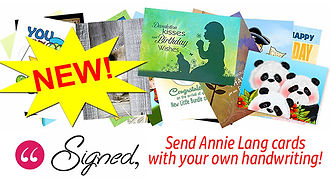 Add your own handwritten message to Annie Lang's greeting card designs at Signedcards.com