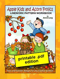 Apple Kids and Acorn Frolics Linework Pattern Book downloadable