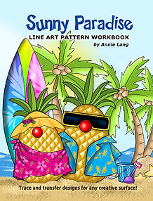 Annie Lang's Sunny Paradise Line Art Pattern Book themed character designs for creative art enthusiasts!