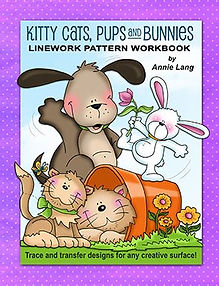 Kitty Cats, Pups and Bunnies Linework Pattern Book Sample Page