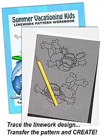 Summer Vacationing Kids Linework Pattern Sample Page