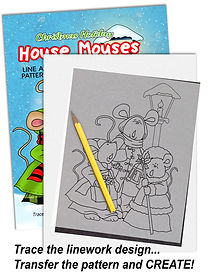 Annie Lang's trace and transfer line art pattern Christmas Holiday House Mouses