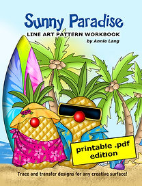 Annie Lang's Sunny Paradise Line Art Pattern Book Themed character designs .PDF edition