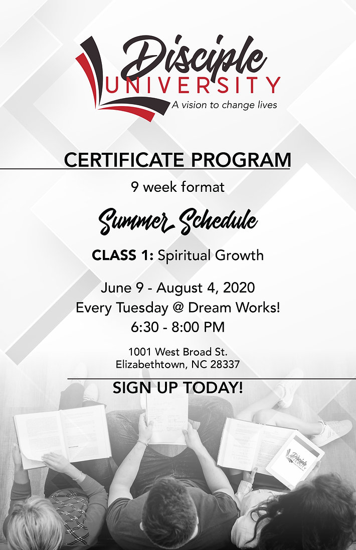 Disciple University Summer Schedule Flye