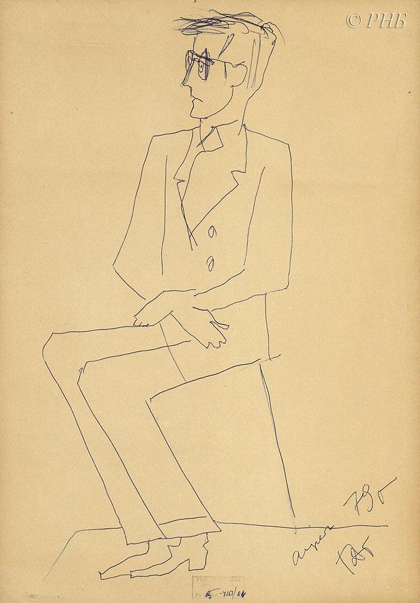 Г. Д. Гликман. Дмитрий Дмитриевич Шостакович. Рисунок шариковой ручкой. Апрель 1979 г.