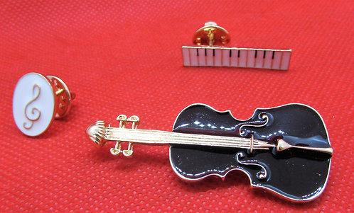 """Комплект брошек """"Скрипка, скрипичный ключ и клавиатура"""""""