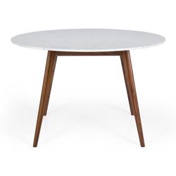 SAL - Radius 1.2m rd Marble Dining Table Walnut Leg